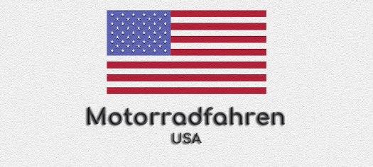 Flagge von Amerika auf weissem Grund, Darunter steht geschrieben: Motorradfahren in USA.
