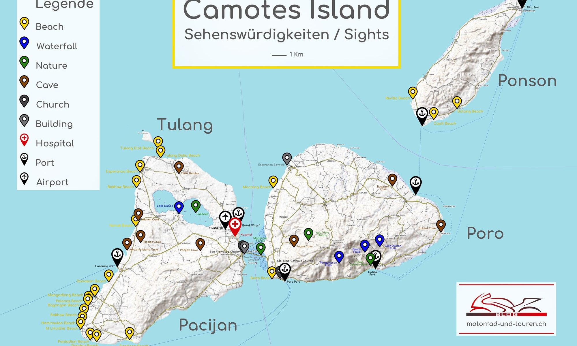 Karte der vier Camotes Inseln Pacijan, Poro, Ponson und Tulang. Alle Sehenswuerdigkeiten von Camotes sind auf der Karte mit farbigen Pfeilen markiert und mit dem Namen beschriftet. Im Textfeld steht geschrieben: Camotes Island Sehenswuerdigkeiten / Sights.