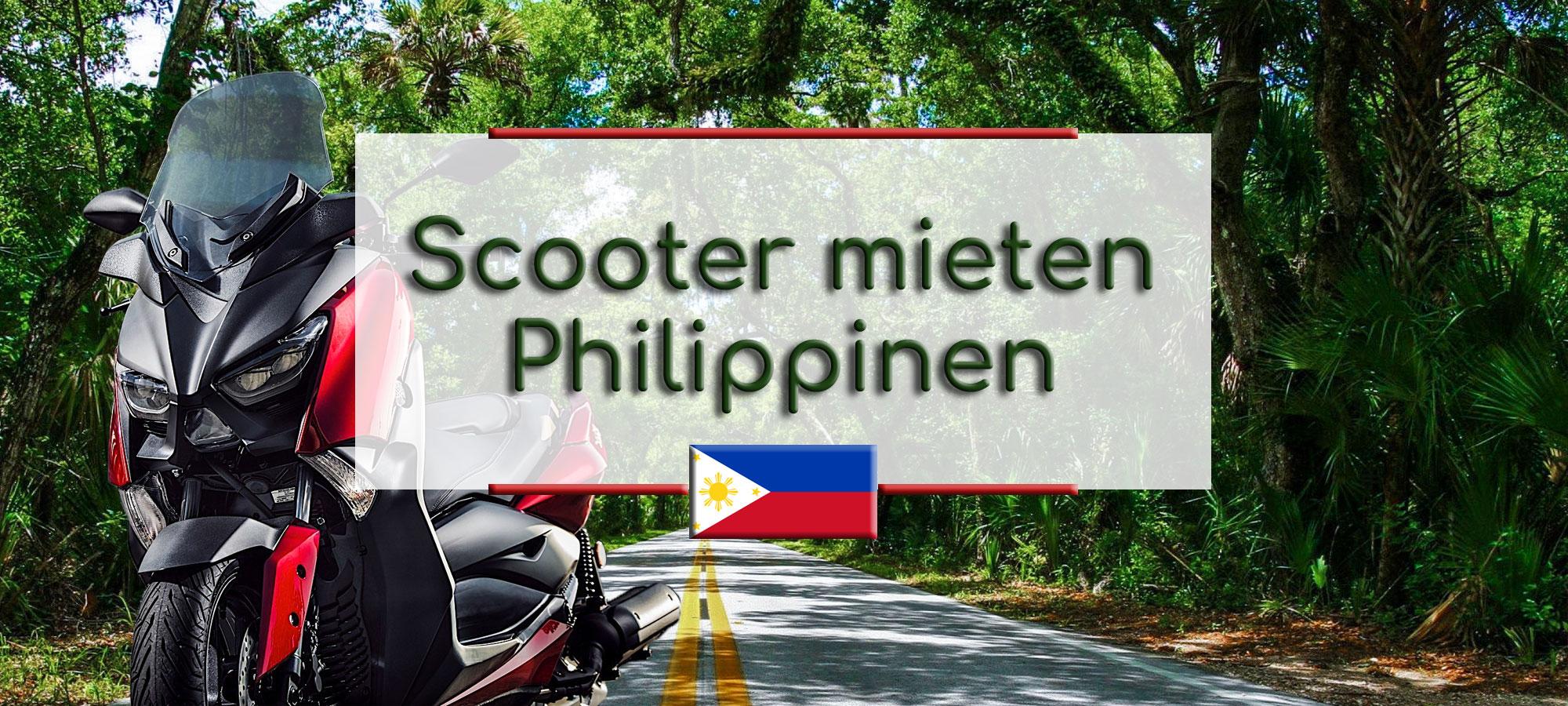 Ein roter Scooter ist im Vordergrund. Im Hintergrund ist eine Strasse durch den Dschungel. Im Textfeld steht geschrieben: Scooter mieten Philippinen.