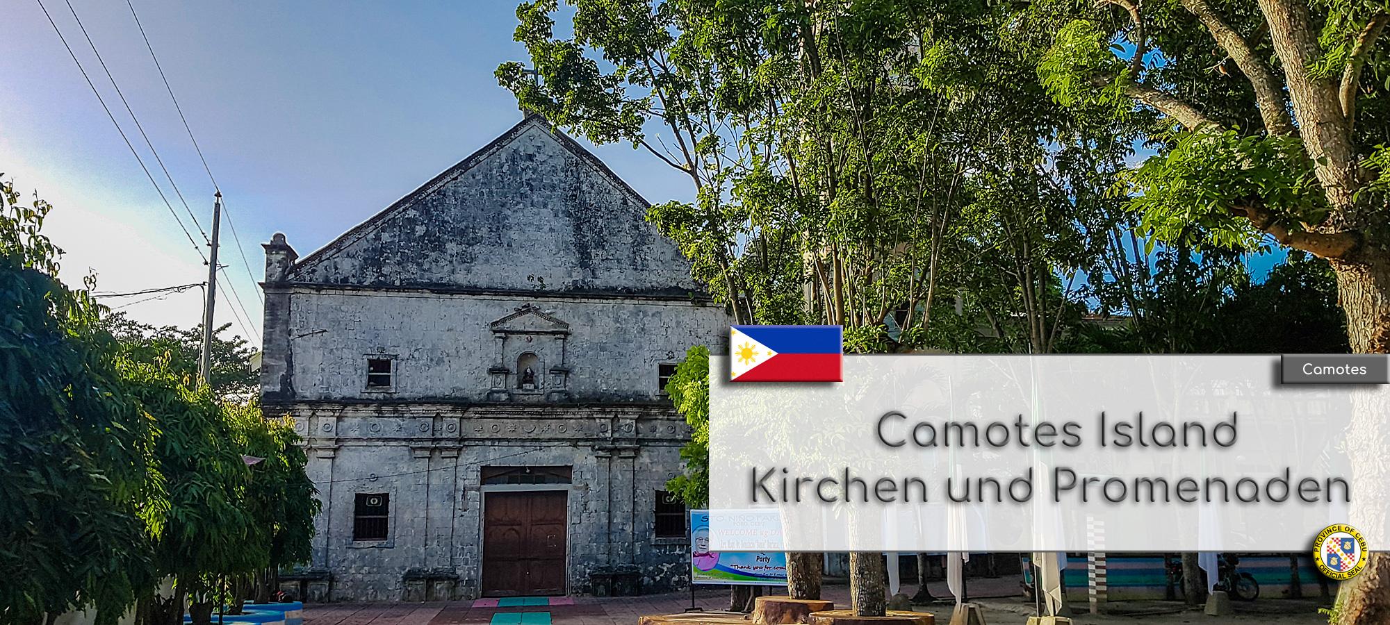 Die aelteste Kirche auf Camotes, die Sto. Niño Catholic Church. Im Textfeld steht geschrieben: Camotes Island Kirchen. Wappen der Philippinen und der Provinz Cebu.