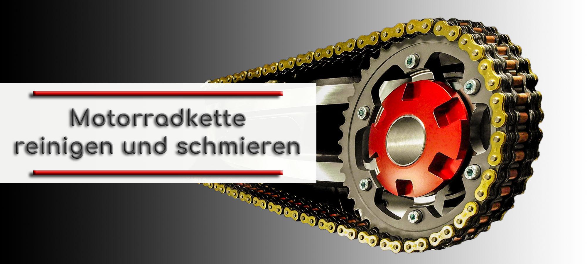 Kettenblatt eines Motorrades mit roter Zentralmutter. Um das Kettenblatt laeuft eine goldene Motorradkette. Im Textfeld steht geschrieben: Motorradkette reinigen und schmieren.