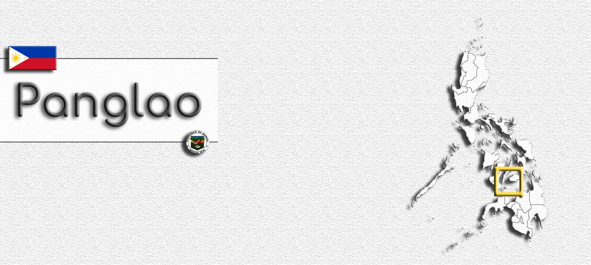 Karte mit Umriss der Philippinen. Die Insel Panglao ist farblich hervorgehoben und mit einem Rahmen eingefasst. Im Textfeld steht geschrieben: Panglao. Beim Textfeld oben links ist das Wappen der Philippinen. Unten rechts das Seal der Provinz Bohol.